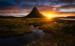 Wallpaper Iceland, light, the evening, the sun, mountain