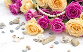 Picture background, pink, bouquet, yellow, Shell, Roses, buds
