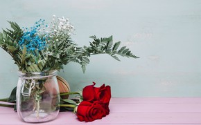 Picture greens, flowers, roses, bouquet, vase