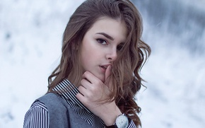 Picture winter, look, girl, snow, model, hair, watch, hand, Elena Lyapina