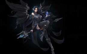 Picture look, girl, magic, wings, art, costume, armor, black background, fantasy