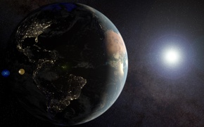 Picture space, stars, surface, lights, earth, planet