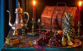Picture style, candles, glasses, grapes, book, fruit, pineapple, chest, still life, pear, coffee pot