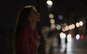 Picture face, model, the evening, lipstick, jacket, profile, Daniela