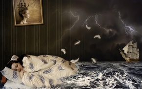 Wallpaper sailboat, creative, clouds, picture, sleep, blanket, sleeping, girl, night, brunette, wave, the storm, sea, bed, ...