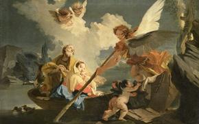 Picture oil, picture, canvas, mythology, The flight into Egypt, Giovanni Battista Tiepolo
