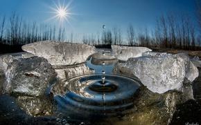 Wallpaper drops, ice, splash, winter, water, macro, the sun