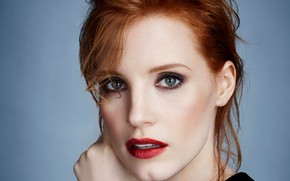 Picture face, portrait, actress, red, celebrity, close, Jessica Chastain