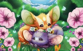 Picture summer, flowers, art, kids, clearing, cutie, children's, Kuro Usagi, Darya Winter