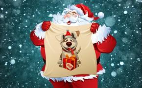 Wallpaper Santa Claus, Snow, Santa, New year, Winter, Minimalism, The Year Of The Dog, 2018, Holiday, ...