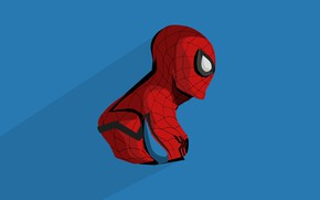 Picture blue, red, background, art, costume, comic, MARVEL, Spider Man, Spider-Man