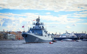 Picture parade, frigate, Navy, patrol ship, the project 11356, Admiral Makarov