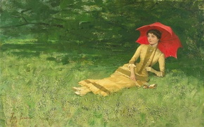 Picture girl, picture, umbrella, Summer Afternoon, Frits Jansen