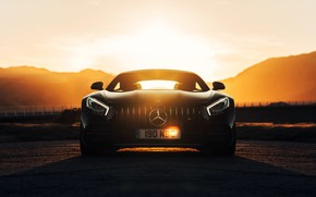 Picture sunset, Mercedes-Benz, front view, AMG, GT C