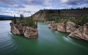 Wallpaper river, Yukon, rocks, Yukon River, Yukon, The Yukon River, Canada, island, trees, Canada