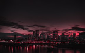 Picture lights, Canada, night, lake, cityscape