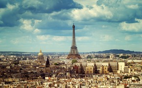 Picture the sky, the sun, clouds, France, Paris, home, panorama, Eiffel tower