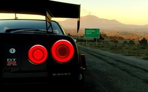 Picture car, game, black, skyline, gtr