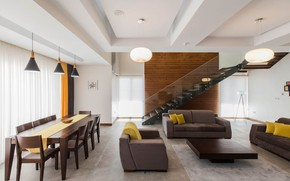 Picture interior, living room, dining room, Three-storey House in Iran