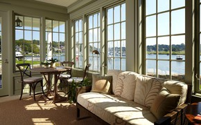 Picture furniture, interior, veranda, river view