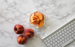 Picture keyboard, peaches, peach, keyboard, marble
