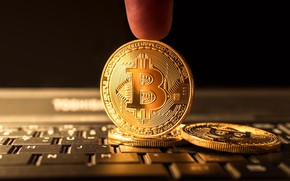 Picture coin, finger, money, bitcoin