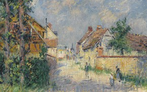 Picture home, picture, the urban landscape, Gustave Loiseau, Gustave Loiseau, Street in Le Vaudreuil