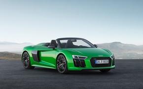 Picture car, Audi, green, Audi R8, Audi R8 Spyder, montain, Audi R8 Spyder V10, Audi R8 …