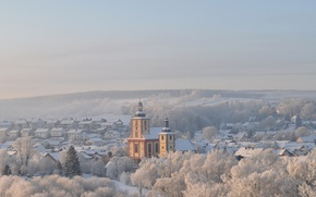 Picture Germany, winter, snow, morning, fog, hills, sunrise, dawn, downtown, mist, churches, baroque, Hesse, roman catholic, …