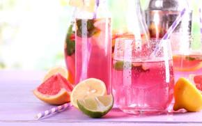 Wallpaper lemonade, drink, lemon, grapefruit, lime