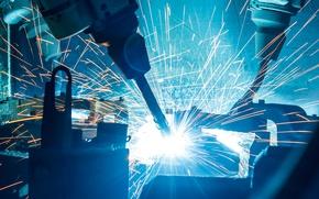 Wallpaper industrial, sparks, robotic welders, Machinery