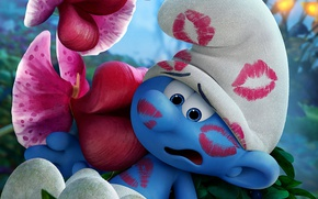 Picture flower, hat, blue, chibi, kiss, animated film, hana, animated movie, Smurfs: The Lost Village, Smurfs …