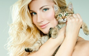 Picture girl, beautiful, makeup, hairstyle, closeup, face, smile, blonde, kitty, look, hands