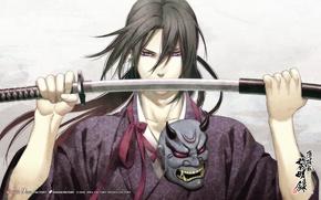 Picture look, sword, anime, mask, samurai, Hakuouki, Pilgrimage Chop Toshizou