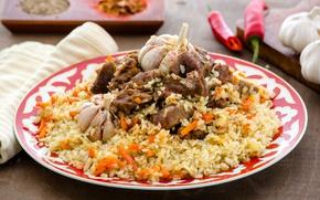 Picture meat, figure, garlic, pilaf