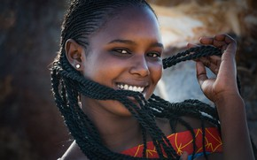 Picture laughter, braids, black girl, African portrait