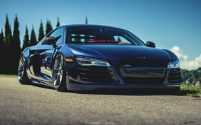 Picture Audi, Audi, Blue, Machine, Lights, Audi R8, Supercar, The front, Mike Crawat Photography, Mike Crawat, …