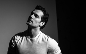 Wallpaper actor, Men's Fitness, t-shirt, black and white, Henry Cavill, Henry Cavill, portrait