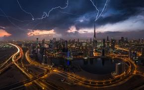 Picture the city, lights, zipper, lightning, the evening, Dubai, UAE, Burj Khalifa