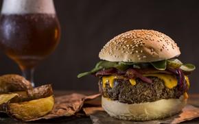 Picture bread, hamburger, meat
