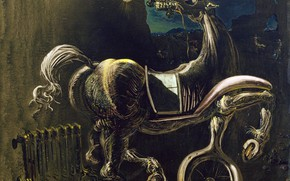 Wallpaper picture, Salvador Dali, Salvador Dali, surrealism, Car Wreckage Give Rise To A Blind Horse