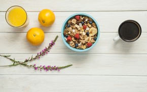 Picture berries, coffee, Breakfast, juice, cereal