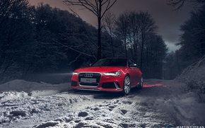 Picture winter, snow, nature, the evening, Audi, car
