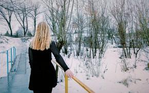 Picture Winter, Girl, Bridge, Blonde, Beauty, Black dress, Goes, Go, Iron bridge, I will not, Arm …