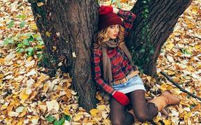 Picture autumn, look, leaves, girl, trees, pose, Park, hat, skirt, boots, yellow, makeup, scarf, hairstyle, gloves, …