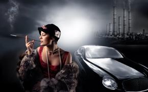 Picture machine, pipe, plant, woman, smoke, hat, necklace, cigarette, pearl, coat, fur