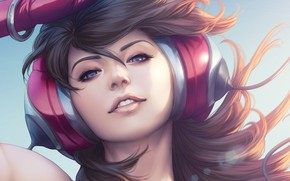 Wallpaper Girl, Figure, Look, Headphones, Lips, Girl, Hair, Eyes, Art, Art, Stanley Lau, Artgerm, Beauty, Headphones, ...