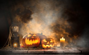 Picture holiday, candles, pumpkin, Halloween