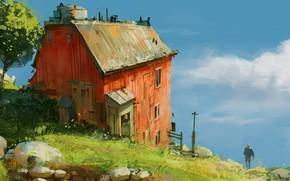 Picture house, grass, sky, landscape, nature, art, figure, clouds, rocks, tree, man, painting, artist, digital art, …