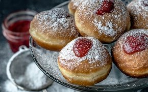 Picture donuts, cakes, jam